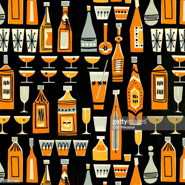 cocktails and liquor bottle pattern - stag night stock illustrations, clip art, cartoons, & icons