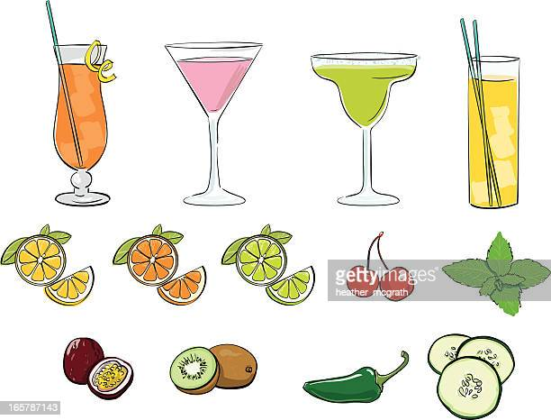 cocktails - margarita stock illustrations