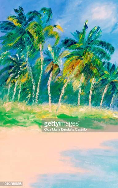 Coconut trees on a beach, Corn Island, Nicaragua