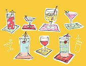 Coctails drawings on napkins