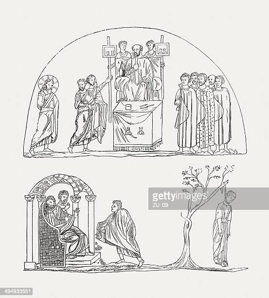 codex purpureus rossanensis, early 6th century, published in 1881 - judas iscariot stock illustrations
