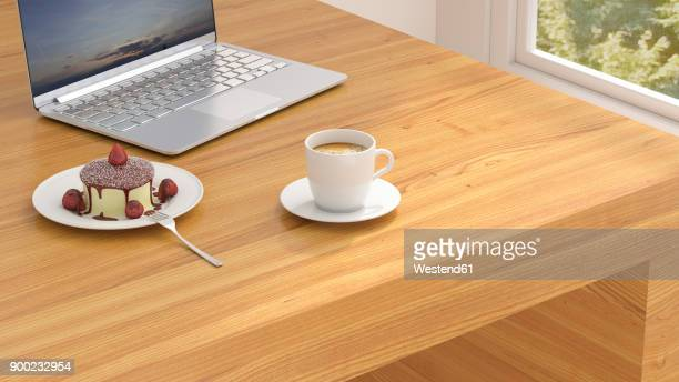 coffe break in the office, cup of coffee and panna cotta by laptop on desk - panna cotta stock illustrations, clip art, cartoons, & icons