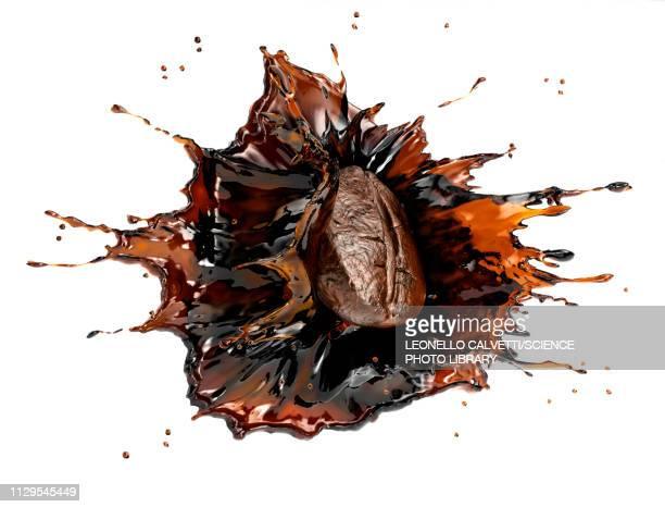 coffee bean splashing in liquid coffee, illustration - food stock illustrations