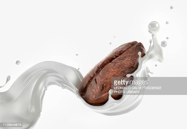 coffee bean splashing with a milk wave, illustration - milk stock illustrations