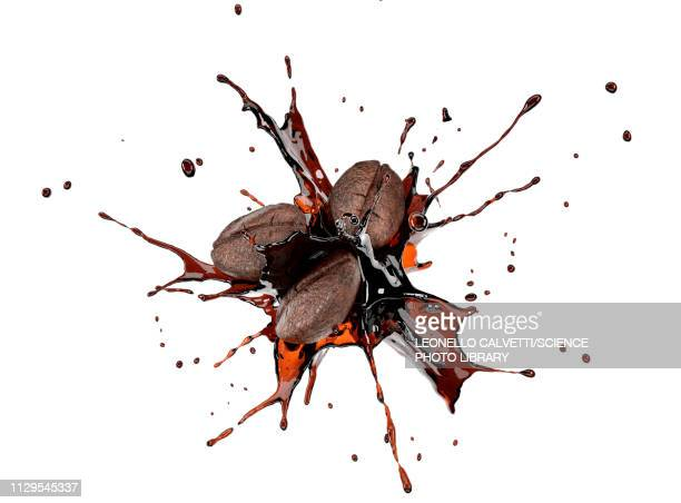 coffee beans colliding with liquid coffee, illustration - roasted coffee bean stock illustrations
