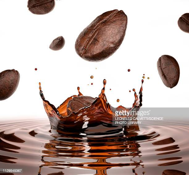 coffee beans falling into pool of coffee, illustration - roasted coffee bean stock illustrations