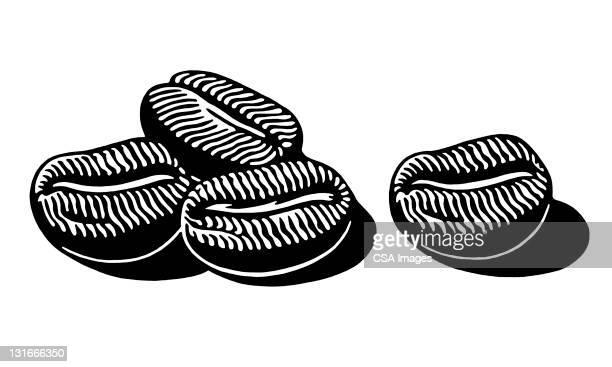 coffee beans - four objects stock illustrations
