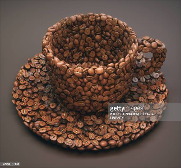 coffee beans in shape of coffee cup, illustration - roasted coffee bean stock illustrations