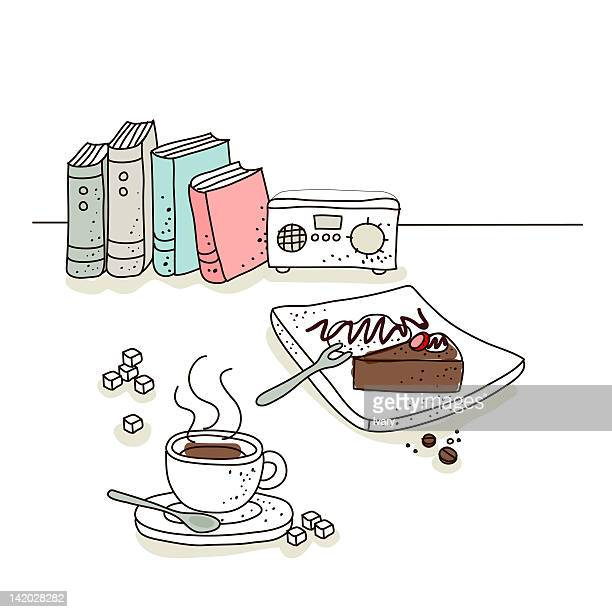 coffee cup and cake with radio in the background - sugar cube stock illustrations, clip art, cartoons, & icons