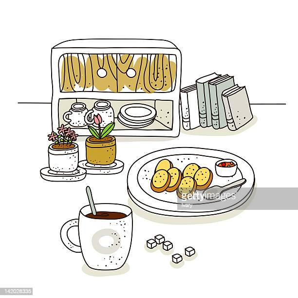 coffee cup and flower pot with books on white background - sugar cube stock illustrations, clip art, cartoons, & icons