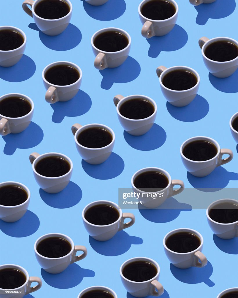 Coffee cups on light blue ground, 3D Rendering : stock illustration