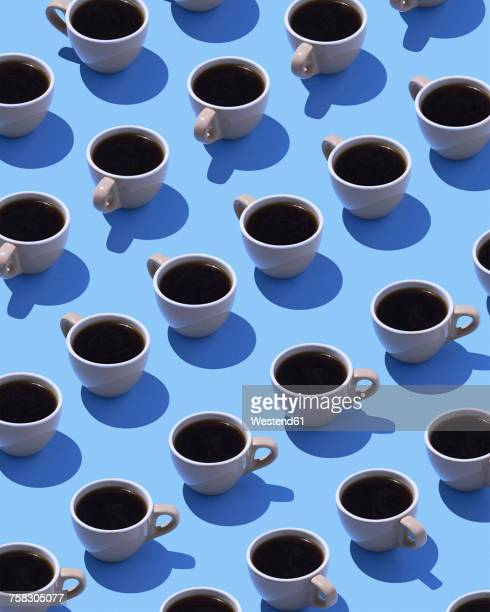 coffee cups on light blue ground, 3d rendering - colored background stock illustrations