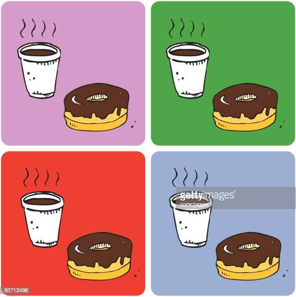 coffee & donut coasters (vector illustrations) - glazed food stock illustrations, clip art, cartoons, & icons