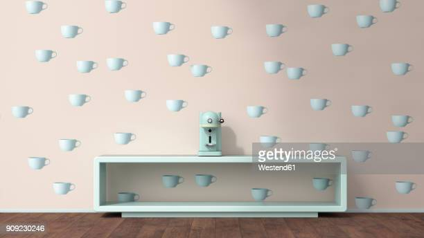 Coffee machine on sideboard in front of wallpaper with cup pattern, 3D Rendering
