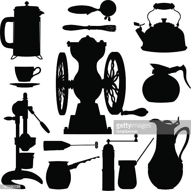 Coffee Making kitchen tool silhouettes