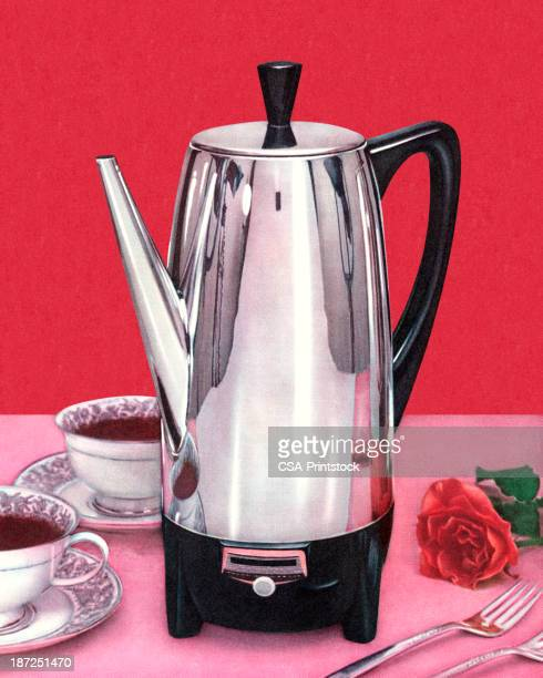 Coffee Percolator and Two Cups