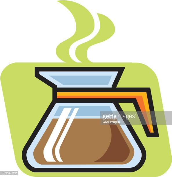 coffee pot - steam stock illustrations
