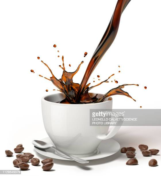 coffee pouring into a cup on saucer, illustration - roasted coffee bean stock illustrations
