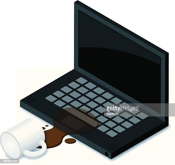 coffee spill on laptop - spill stock illustrations, clip art, cartoons, & icons