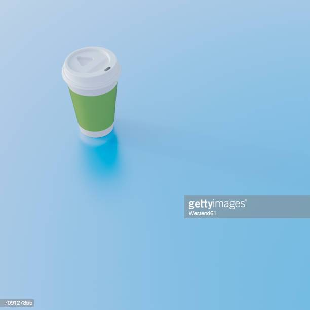 Coffee to go cup on light blue ground, 3D Rendering