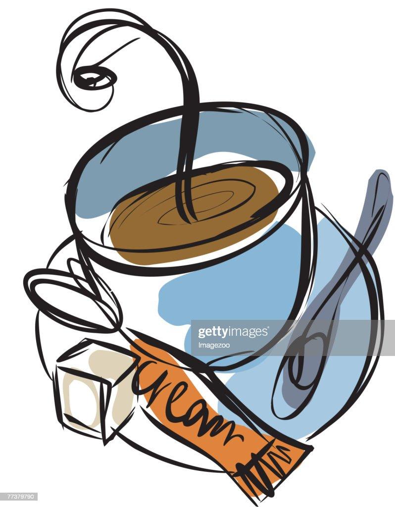coffee with cream and sugar : Illustration