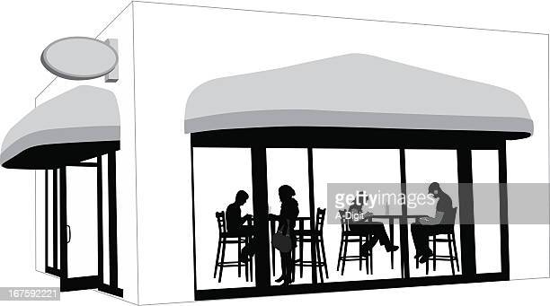 coffeeshop view vector silhouette - awning stock illustrations, clip art, cartoons, & icons