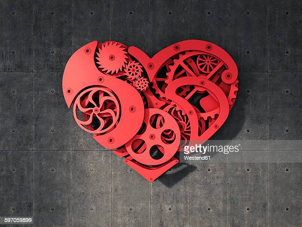 cogwheel heart hanging on concrete wall - machine part stock illustrations