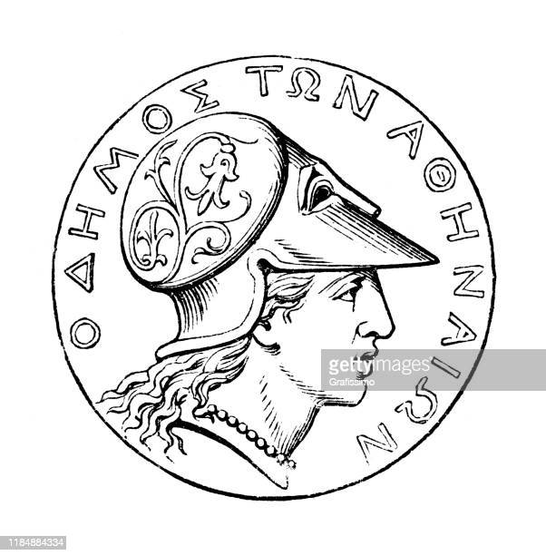 coin from athens with greek inscription 1896 - trojan war stock illustrations, clip art, cartoons, & icons