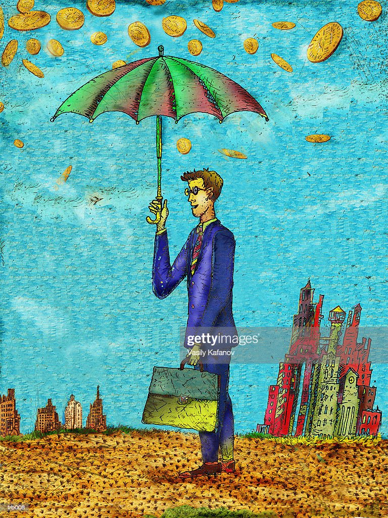 Coin Rain & Man with Umbrella : Ilustración de stock