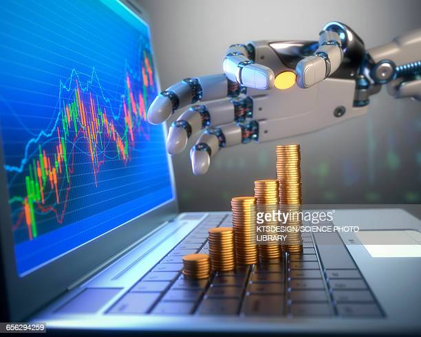 coins and robotic hand, illustration - robot stock illustrations