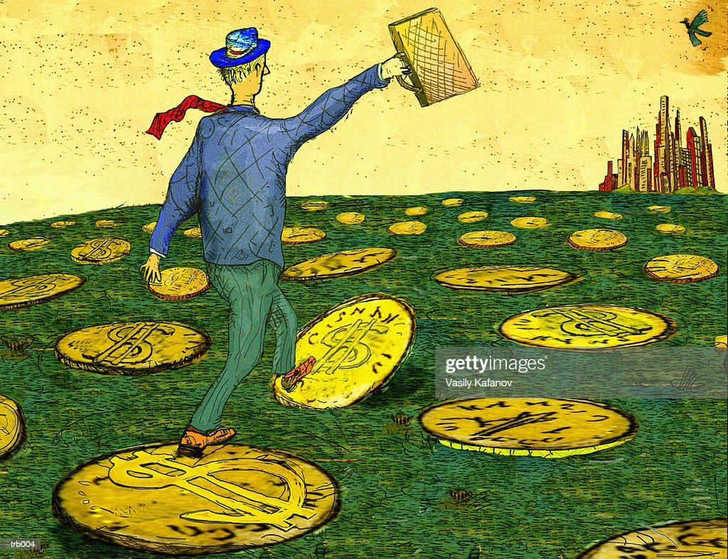 Coins as Stepping Stones : Stock Illustration