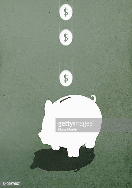 coins falling in piggy bank against gray background - four objects stock illustrations