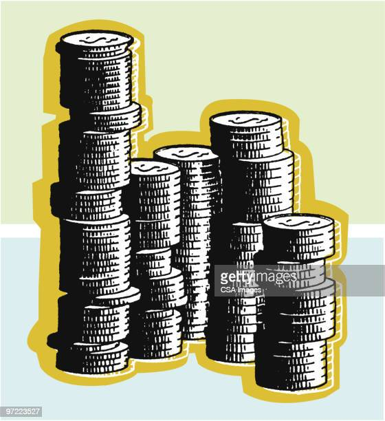 coins - stack stock illustrations
