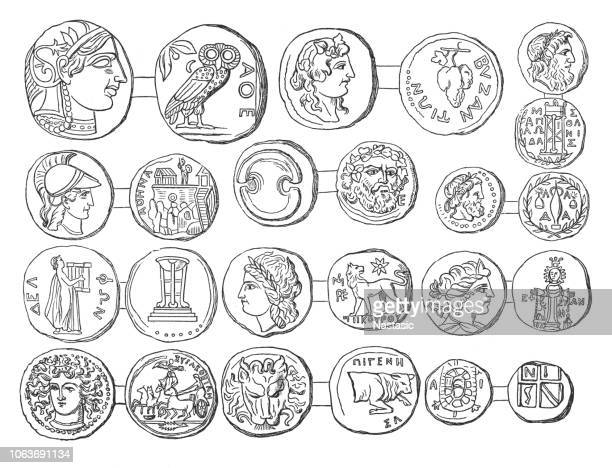 coins of hellenistic cities and communities - sicily stock illustrations, clip art, cartoons, & icons