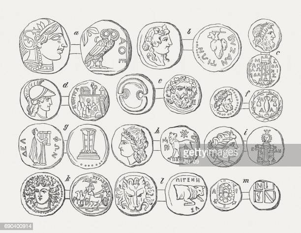 coins of hellenistic cities and communities, wood engravings, published 1880 - classical greek style stock illustrations