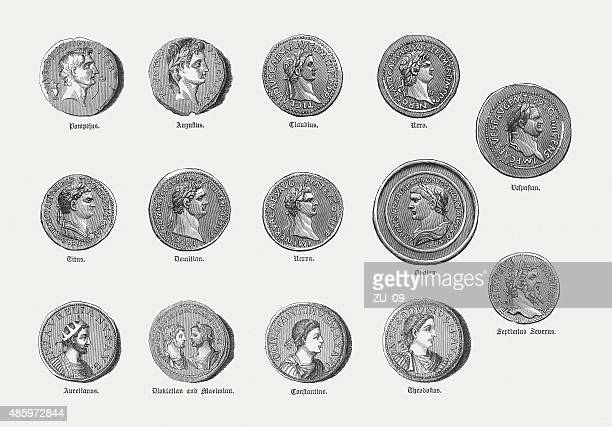 Coins with portraits of Roman emperors, published in 1878