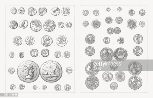 Coins (Antiquity - 17th century), wood engravings, published in 1897