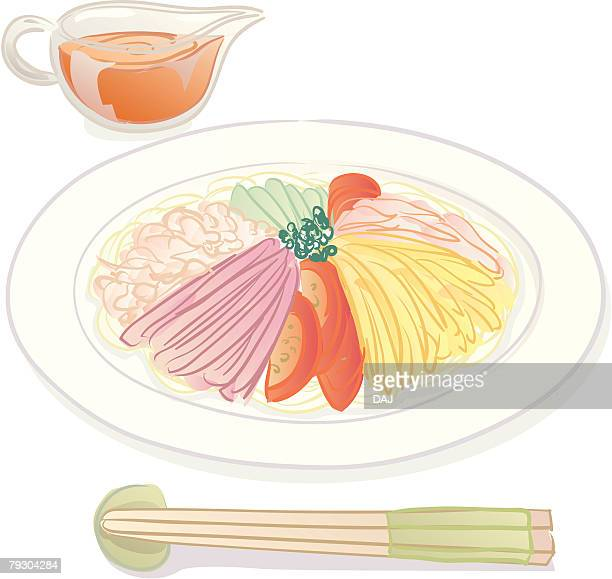 Cold noodle with vegetables
