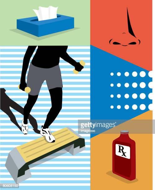 ilustraciones, imágenes clip art, dibujos animados e iconos de stock de cold prevention - educacion fisica