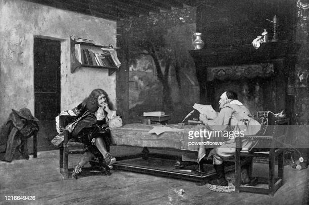 a collaboration (moliere and corneille) by jean-léon gérôme - 19th century - literature stock illustrations