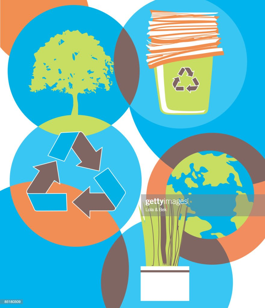A Collage About Recycling Showing A Tree Recycled Paper The Earth A