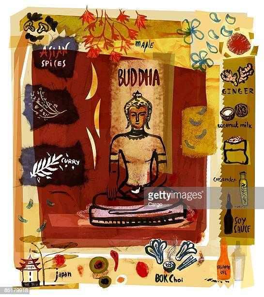 collage of a buddha statue with asian spices and food - coconut milk stock illustrations, clip art, cartoons, & icons