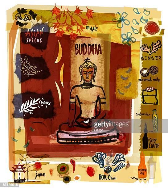 ilustrações, clipart, desenhos animados e ícones de collage of a buddha statue with asian spices and food - bok choy
