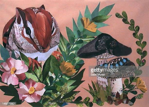 a collage of a chipmunk and flowers - chipmunk stock illustrations