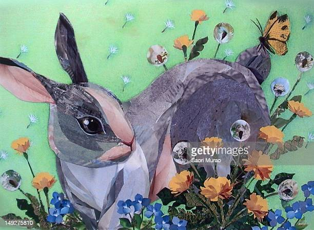 A collage of a rabbit in a garden