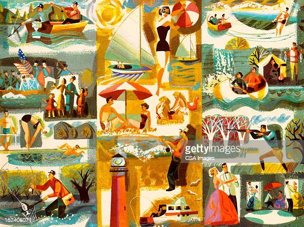 collage of activities - beach holiday stock illustrations, clip art, cartoons, & icons