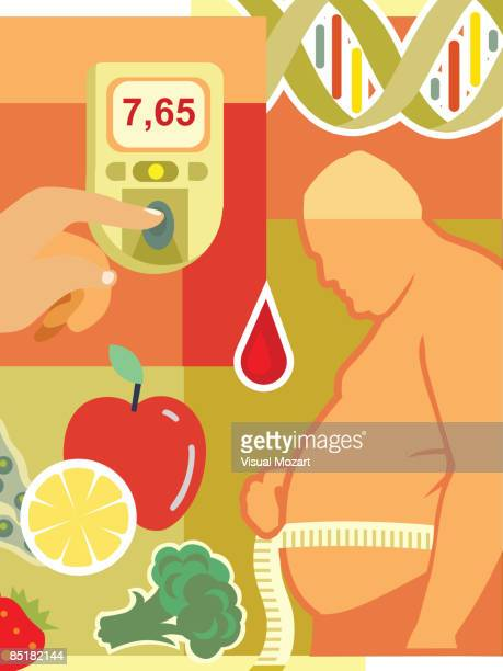 ilustraciones, imágenes clip art, dibujos animados e iconos de stock de collage of an overweight man measuring waist, fresh fruit and vegetables, a drop of blood, a blood glucose monitor, and dna - diabetes