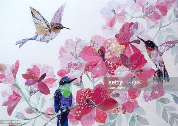 a collage of birds and flowers - animal limb stock illustrations, clip art, cartoons, & icons