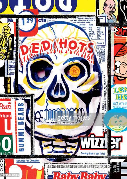 Collage of Candy Wrappers and Skull