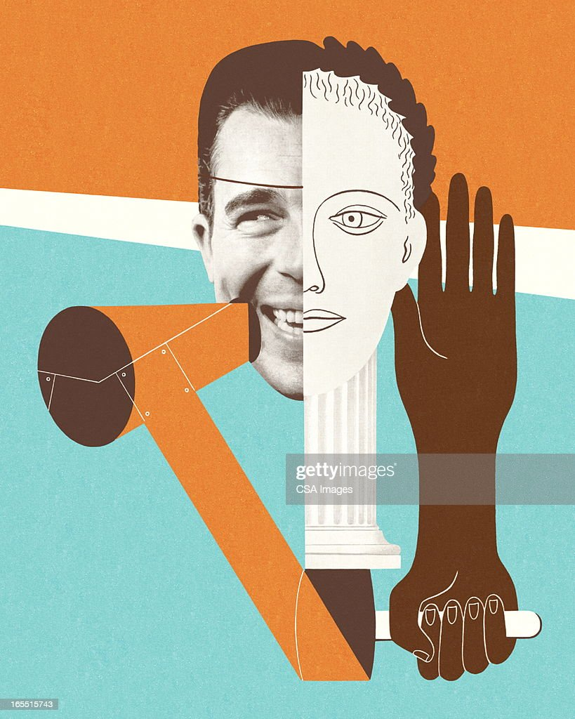 Collage of Faces and Hands : stock illustration